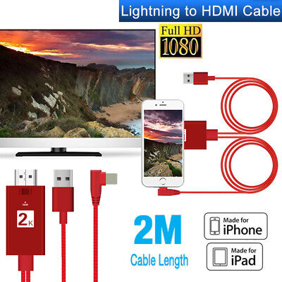 For iPad iPhone IOS12 Lightning To HDTV HDMI AV TV Adapter Video Output 2M Cable