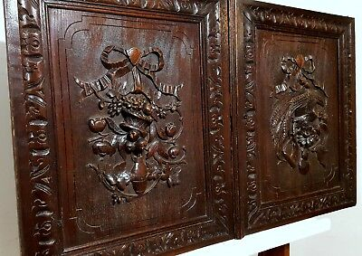 Country Farmhouse Cabinet Door Pair Antique French Hand Carved Wood Panel Trophy