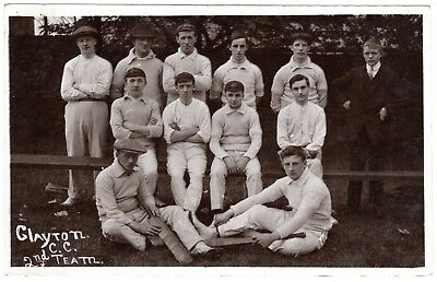 Rare Early Real Photo Postcard Clayton Cricket Club-2Nd Team Players-Manchester