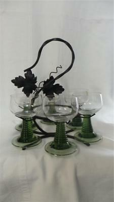 Retro Vintage Wrought Iron Stand With Six Green Wine Glasses