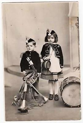 Delightful Vintage Rp French Photo,little Boy & Girl,coronets & Snare Drum