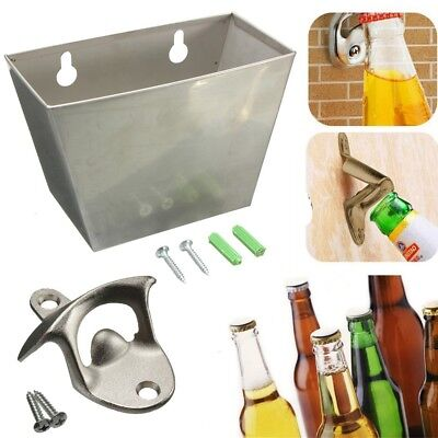 Stainless Steel Wall Mounted Bar Beer Bottle Opener w/Screws Cap Catcher Box AU