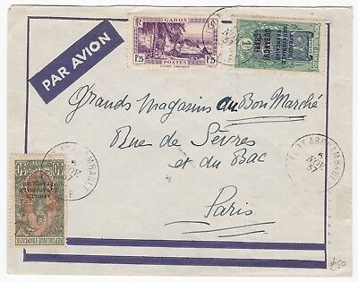 # 1937 Gabon Fort Archambault Cover To Paris France 2 Overprinted A E F Stamps