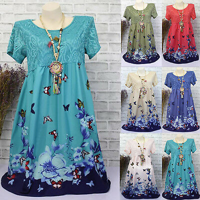 Women Summer Short Sleeve Vintage Dress Plus Size Boho Floral Dresses Long Tops