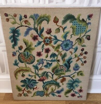 Lovely vintage hand-stitched completed wool tapestry Jacobean by Penelope floral