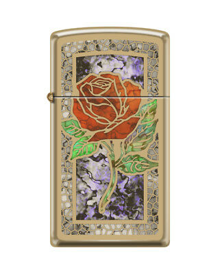 Zippo 0078, Red Rose, High Polish Brass Fusion Lighter, Slim Size