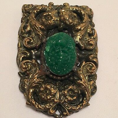 Vintage Etruscan Revival Ornate Brass Dress Clip W/ Green Pressed Glass Cabochon