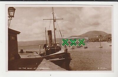 Valentines B9592 Photo Postcard - On The Quay At Stromness (Orkney) Incl Steamer