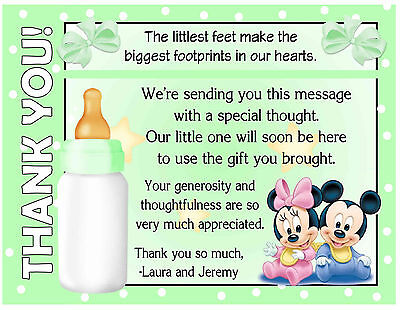 20 DISNEY BABIES MICKY AND MINNIE BABY SHOWER THANK YOU CARDS with envelopes