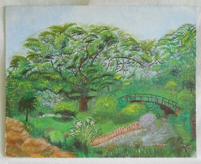 Vintage Painting  Landscape Lush Green Summer Garden Bridge Brook Arelis 88