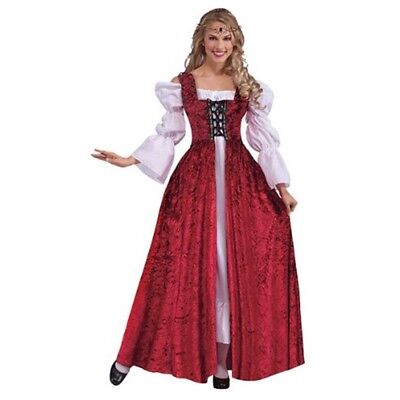 Red Ladies Medieval Lace Up Gown - Fancy Dress Costume Tudor Outfit Adult