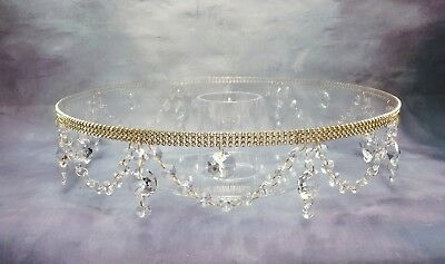 16 inch  REAL CRYSTAL  GOLD WEDDING CAKE STAND SWAG DESIGN