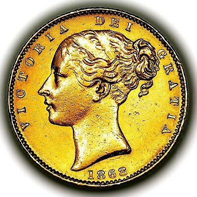 1868 Queen Victoria Great Britain London Mint Gold Sovereign Coin