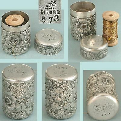 Unusual Antique Sterling Silver Floral Spool Case by Whiting * Dated 1891