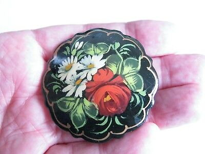 Vintage Fine Hand Painted Russian Paper Mache Flowers Pin Brooch