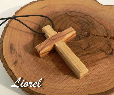 "Olive Wood Cross Necklace Plain Wooden 2"" Pendant Bethlehem Jerusalem Holy Land"