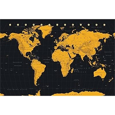 "Gb Eye ""world Map, Gold"" Maxi Poster, Multi-colour, 61 x 91.5cm - Gold World"