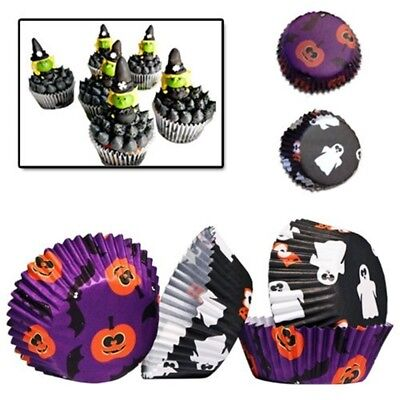 Premier Housewares 100pc Halloween Mini Cupcake Cases Petit Four Muffin Candy -