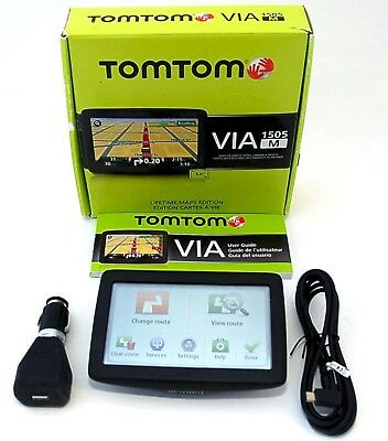 "NEW TomTom VIA 1505M 1505-M Car 5"" LCD Portable GPS US Canada Mex MAPS"