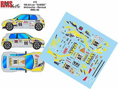 Decalcomanie 1/43 Rif. 0175 Peugeot 106 Maxi Kit Car Michoulier Rally
