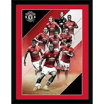 Gb Eye Manchester United, Players 17/18, Framed Print 30 x 40cm, Wood, Various,