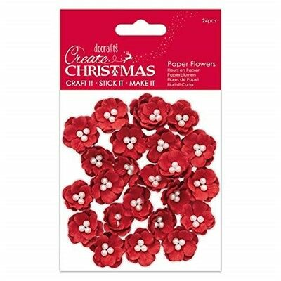 Create Christmas Paper Flowers-set Of 24 Pieces, Red, One Size