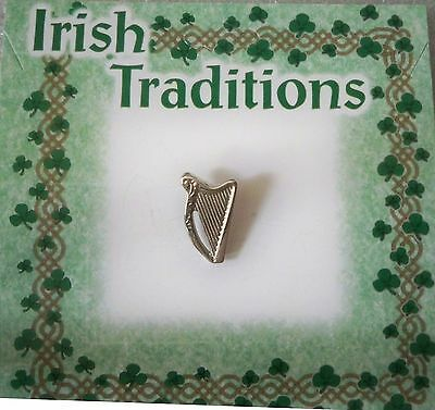 Irish Harp pin, silvertone finish, on card