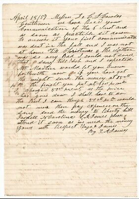 LIBERTY HILL, NORTH CAROLINA - 1857 Letter, Ginseng, Iredell County, History