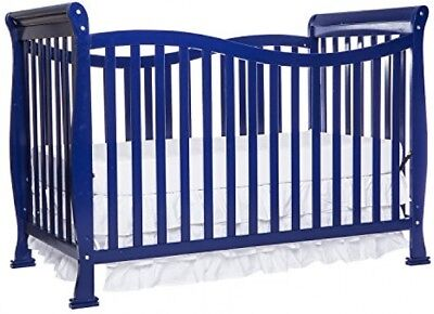 7 in 1 Convertible Crib Blue Full Guard Rail Solid Pine Wood w/ Tools Lead Safe