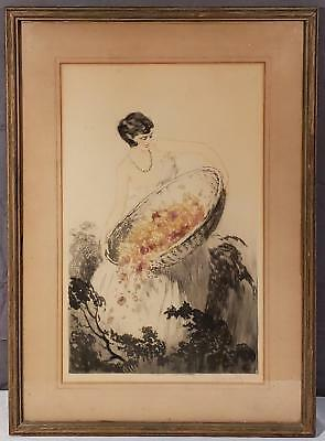 1920's Jean Hardy Pencil Signed Art Deco Boudoir Style Etching, Louis Icart Styl