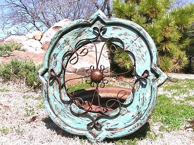Round House Pediment Architectural Iron-Wood-Hand Painted Medallion Blue