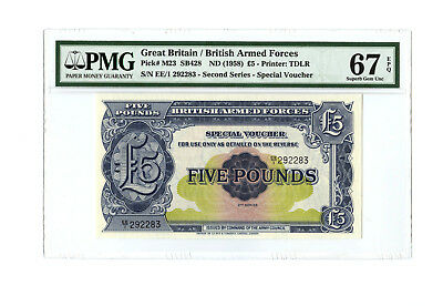 1958 5Pd Great Britain British Armed Forces Pmg 67 Pick# M23 Banknote Superb Unc