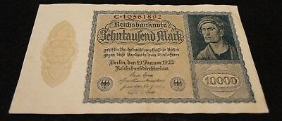 1922 German 10000 Mark Bank Note in EF Condition Nice Note!