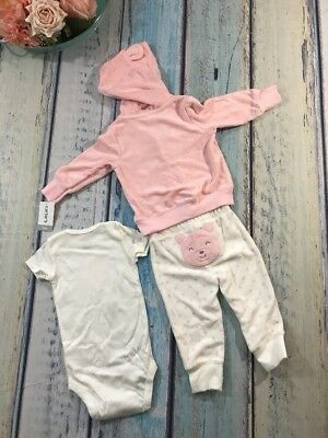 2108232f6 Carter's Baby NWT NB and Girls 3 pc Hoodie Bodysuit & Pants Set Polka Dots