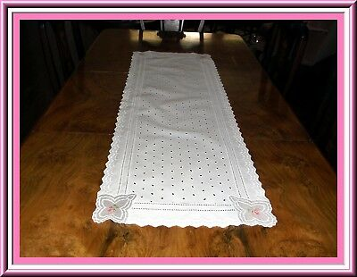 Beautiful Vintage Eyelet Embroidered Table Runner With Organdy Insertions