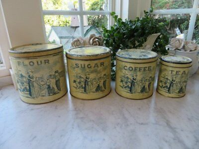 Vintage METAL KITCHEN CANISTER 4 Canisters Cream Blue Women Children Dogs