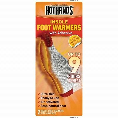 NEW HotHands Insole Foot Warmer w/Adhesive 9 Hours Safe Max Heat Warmers 1-Pair