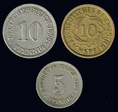 GERMANY- EMPIRE / WEIMAR Republic:- 3 different Early 20th century  coins AP6761