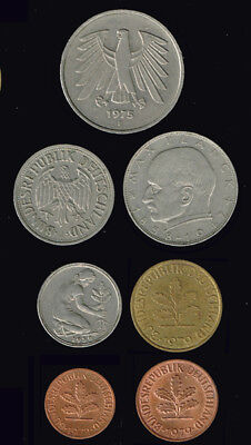 GERMANY- Republic:-  7 different, late 20th century pre Eurozone coins AP6903