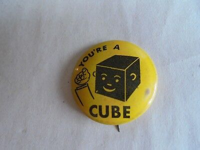 Vintage Armour Franks You're a Cube Hippy Slogan Advertising Pinback Button