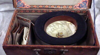 Antique Wooden Hat Box With Black Hat -White Leather Gloves -Purse -Shoe Covers