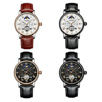 KINYUED Skeleton Dial Moon Phase Automatic Mechanical Genuine Leather Watch