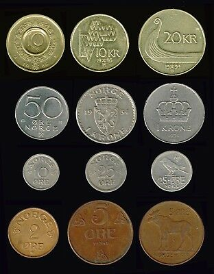 NORWAY:- A selection of 14 different mid 20th. - 21st.. century  coins. AP6906