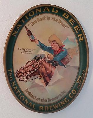 Rare! Vintage The National Brewing Co. San Francisco Beer Tin Tray Cowboy Horse