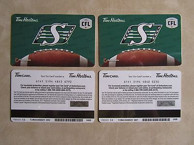 2 Tim Hortons Gift Cards 2017 SASKATCHEWAN ROUGHRIDERS new $000 never activated