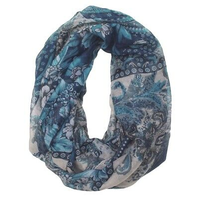 Jendi Black Teal Blue Green Off-White Ladies Snood Infinity Scarf Winter Spring