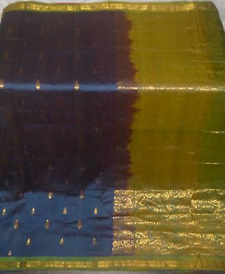 Antique Vintage Weaving Woven Fabric Pure Silk Sari Saree
