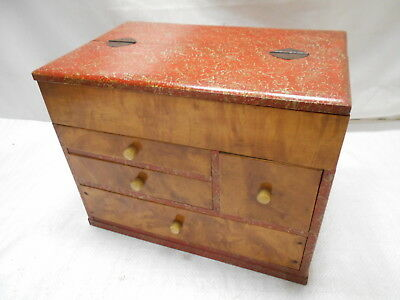 Vintage Sugi Wood Sewing Box Japanese Speckled Finish Drawers Circa 1950s #785