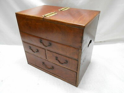 Antique Keyaki and Kiri Wood Sewing Box Japanese Drawers Circa 1900s #791