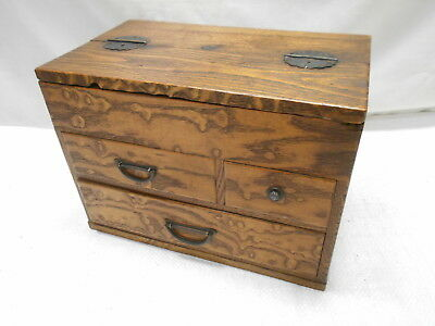 Antique Keyaki and Kiri Wood Sewing Box Japanese Drawers Circa 1920s #796